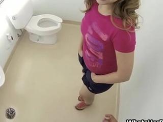 Fucking broke perky teen in a public bathroom