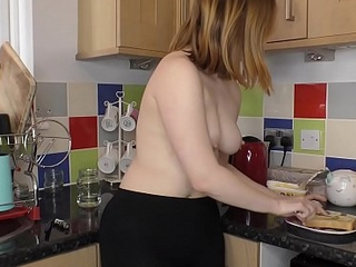 Hot ass brunette babe shows downblouse while making up