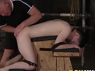 Bound slave Alex Knight fingered and dildo fucked by dom