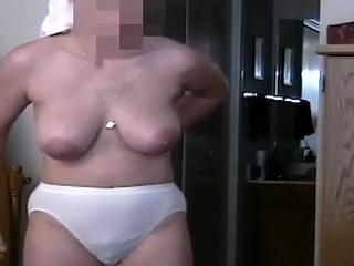 Amateur Milf Big Tits Areolas Puts On Bra And Panties Slo Mo
