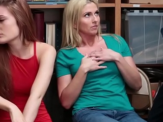 Teen and stepmom fuck store officer