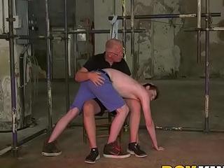Young slave Bob Steel spanked by mature dom Sebastian Kane