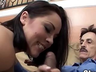 Cute Teenie Enjoying an Old Cock