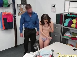 Sweet shoplifter brunette has to suck.
