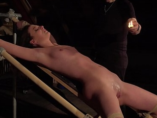 Teen slave screams and cums for her BDSM master